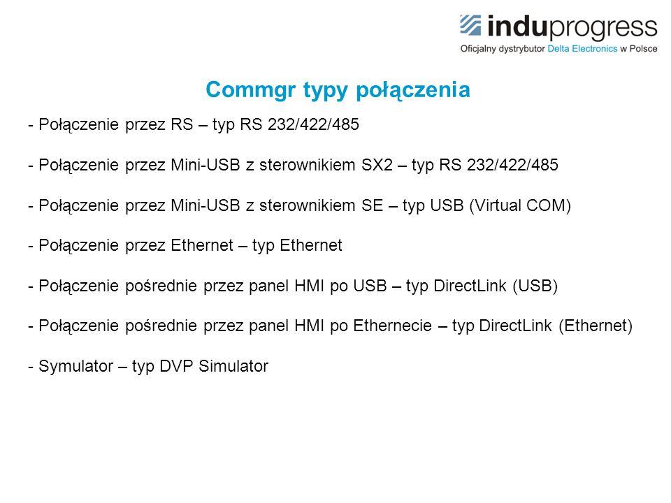 Commgr typy połączenia - Połączenie przez RS – typ RS 232/422/485 - Połączenie przez Mini-USB z sterownikiem SX2 – typ RS 232/422/485 - Połączenie prz