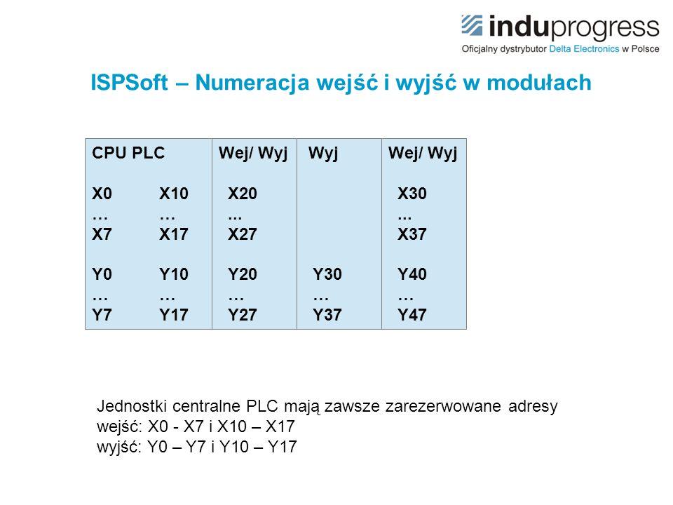 ISPSoft – Numeracja wejść i wyjść w modułach CPU PLC X0X10 …… X7X17 Y0Y10 …… Y7Y17 Wej/ Wyj X20... X27 Y20 … Y27 Wyj Y30 … Y37 Wej/ Wyj X30... X37 Y40