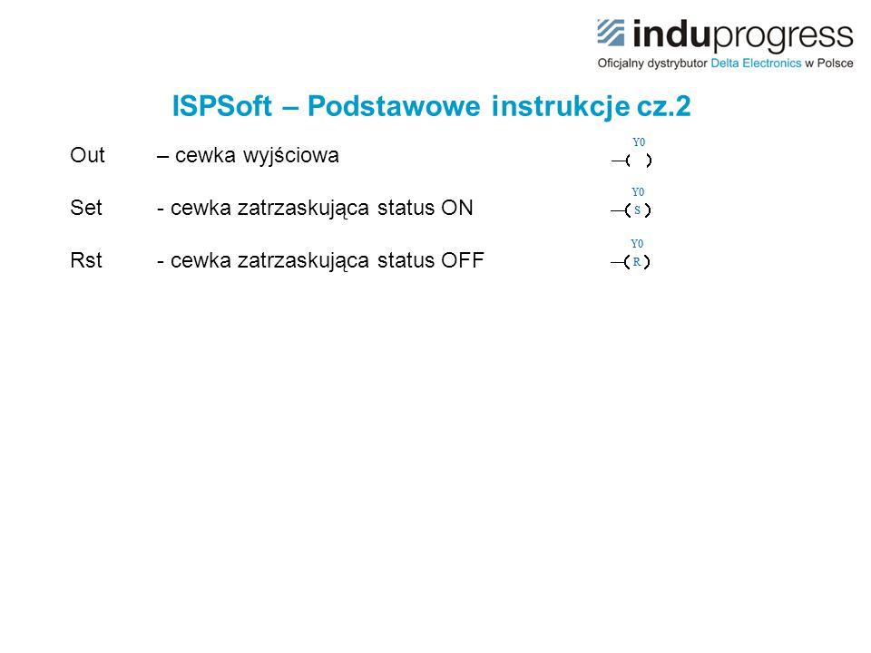 ISPSoft – Podstawowe instrukcje cz.2 Out – cewka wyjściowa Set - cewka zatrzaskująca status ON Rst- cewka zatrzaskująca status OFF