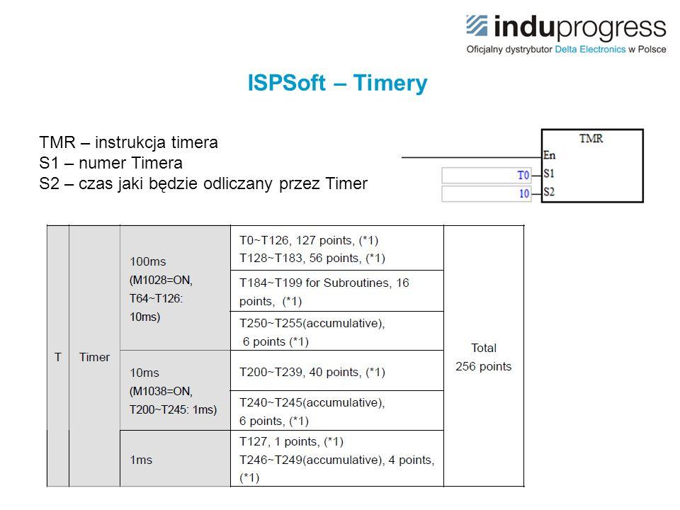 ISPSoft – Timery TMR – instrukcja timera S1 – numer Timera S2 – czas jaki będzie odliczany przez Timer