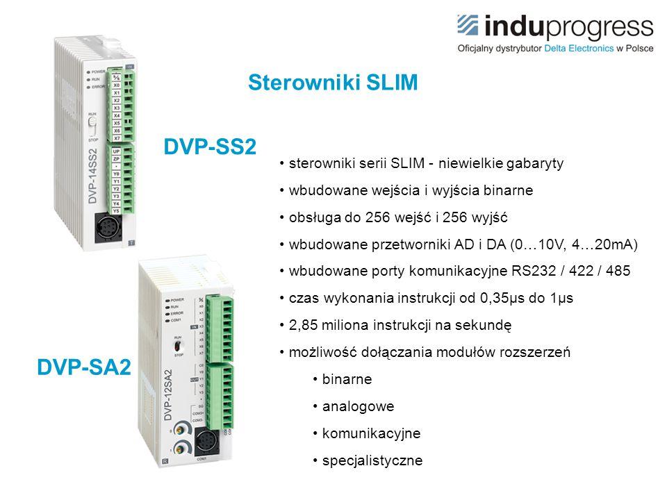 sterowniki serii SLIM - niewielkie gabaryty wbudowane wejścia i wyjścia binarne obsługa do 256 wejść i 256 wyjść wbudowane przetworniki AD i DA (0…10V