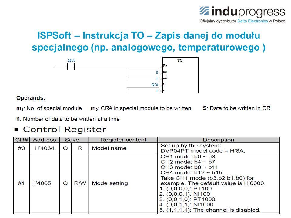 ISPSoft – Instrukcja TO – Zapis danej do modułu specjalnego (np. analogowego, temperaturowego )