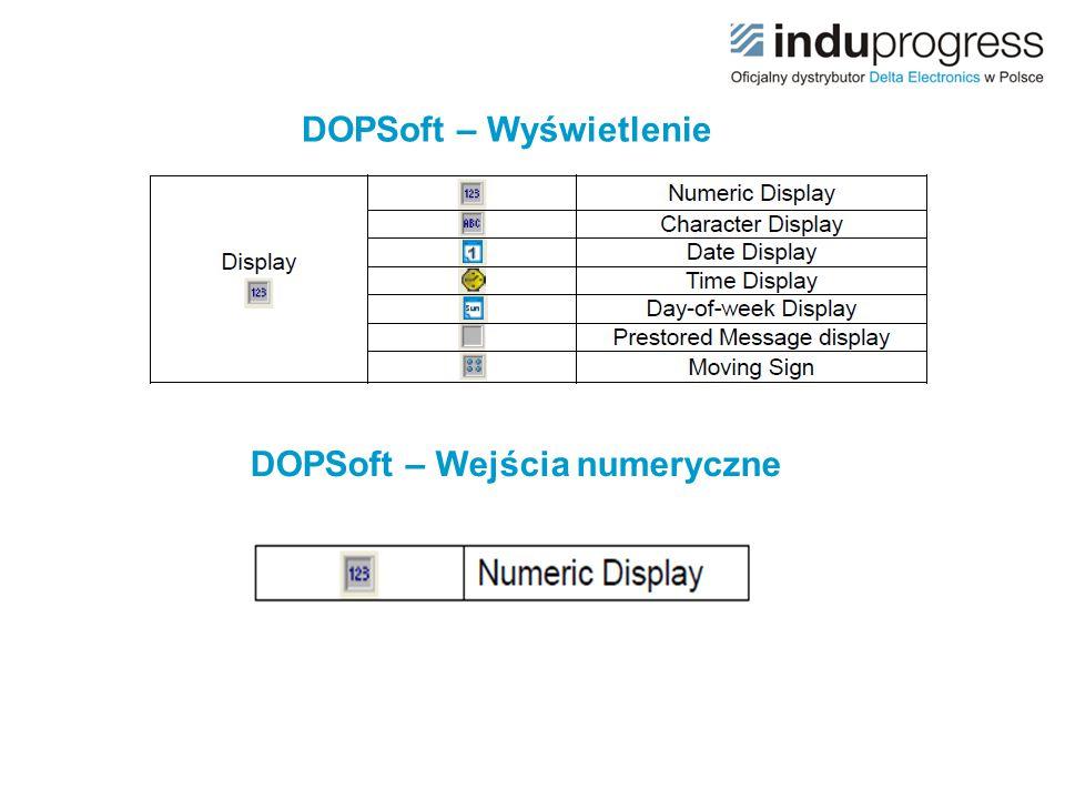 DOPSoft – Wyświetlenie DOPSoft – Wejścia numeryczne