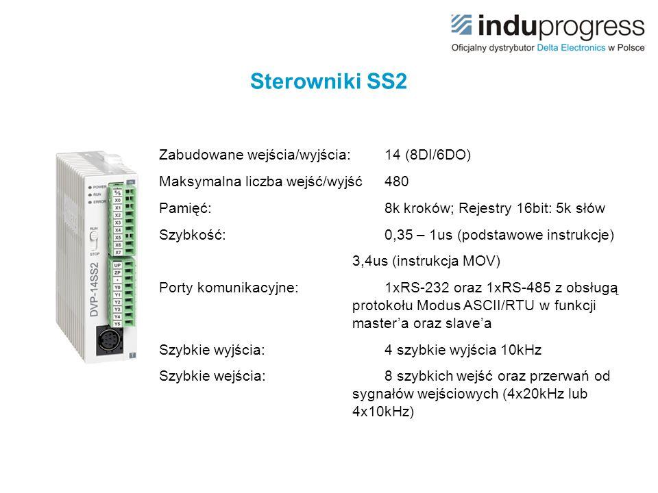 Zabudowane wejścia/wyjścia:12 (8DI/4DO) Maksymalna liczba wejść/wyjść480+12 Pamięć:16k kroków; Rejestry 16bit: 10k słów Szybkość:0,35 – 1us (podstawowe instrukcje) 3,4us (instrukcja MOV) Porty komunikacyjne:1xRS-232 oraz 2xRS-485 z obsługą protokołu Modus ASCII/RTU w funkcji master'a oraz slave'a Szybkie wyjścia:4 szybkie wyjścia impulsowe (2x100kHz, 2x10kHz) Szybkie wejścia:8 szybkich wejść oraz przerwań od sygnałów wejściowych (3x100kHz, 5x10kHz, 1xA/B fazowe do 50kHz) Sterowniki SA2