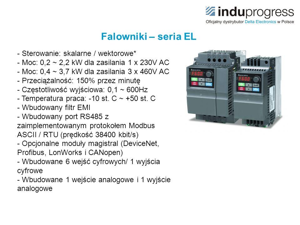 Falowniki – seria EL - Sterowanie: skalarne / wektorowe* - Moc: 0,2 ~ 2,2 kW dla zasilania 1 x 230V AC - Moc: 0,4 ~ 3,7 kW dla zasilania 3 x 460V AC -