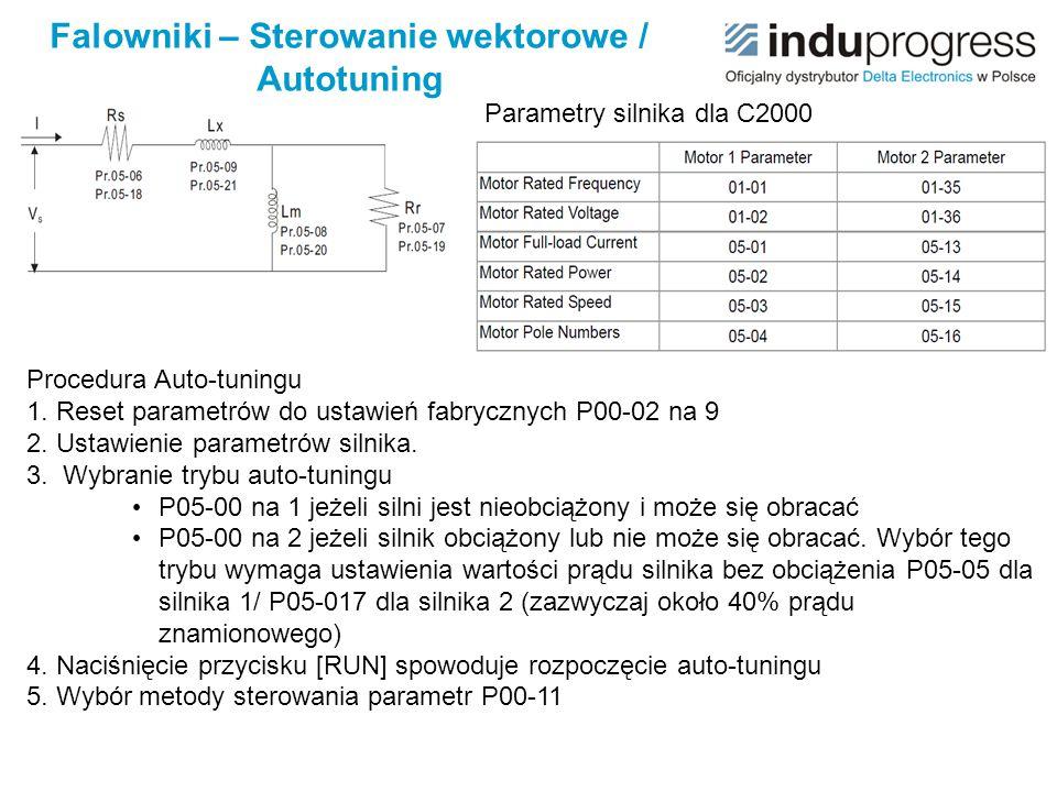 Falowniki – Sterowanie wektorowe / Autotuning Parametry silnika dla C2000 Procedura Auto-tuningu 1. Reset parametrów do ustawień fabrycznych P00-02 na