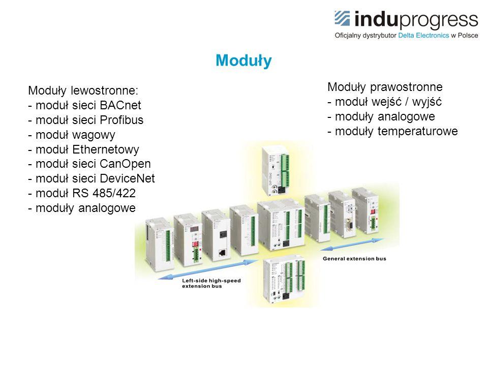 Moduły Moduły lewostronne: - moduł sieci BACnet - moduł sieci Profibus - moduł wagowy - moduł Ethernetowy - moduł sieci CanOpen - moduł sieci DeviceNe