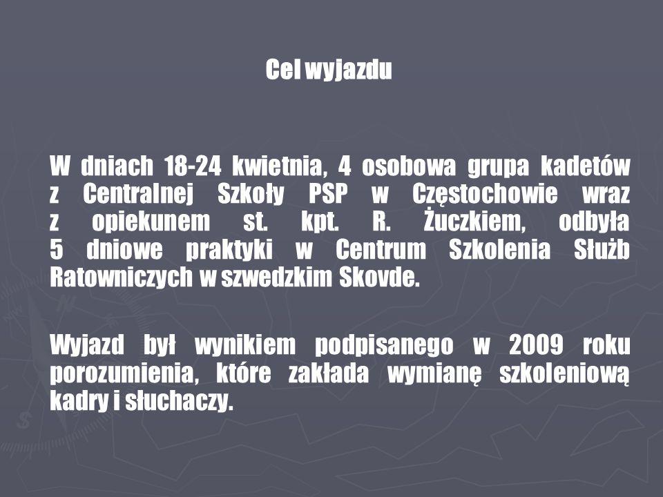 W dniach 18-24 kwietnia, 4 osobowa grupa kadetów z Centralnej Szkoły PSP w Częstochowie wraz z opiekunem st. kpt. R. Żuczkiem, odbyła 5 dniowe praktyk