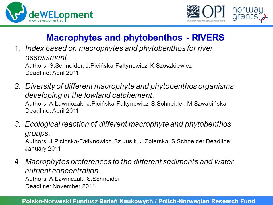 Polsko-Norweski Fundusz Badań Naukowych / Polish-Norwegian Research Fund 1. Index based on macrophytes and phytobenthos for river assessment. Authors: