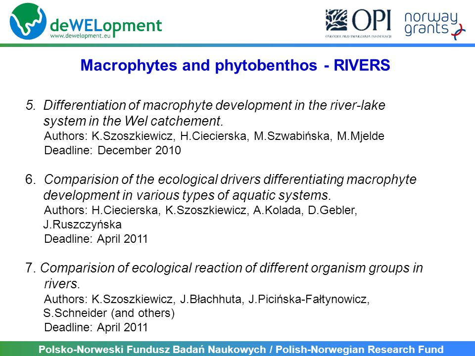 Polsko-Norweski Fundusz Badań Naukowych / Polish-Norwegian Research Fund 5.Differentiation of macrophyte development in the river-lake system in the Wel catchement.