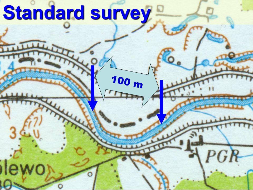 Polsko-Norweski Fundusz Badań Naukowych / Polish-Norwegian Research Fund Walking upstream Walking downstream Survey site dimensions Water flow direction 100 m