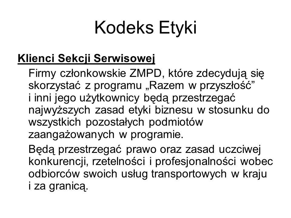 """Kodeks Etyki Klienci Sekcji Serwisowej Firmy członkowskie ZMPD, które zdecydują się skorzystać z programu """"Razem w przyszłość"""" i inni jego użytkownicy"""