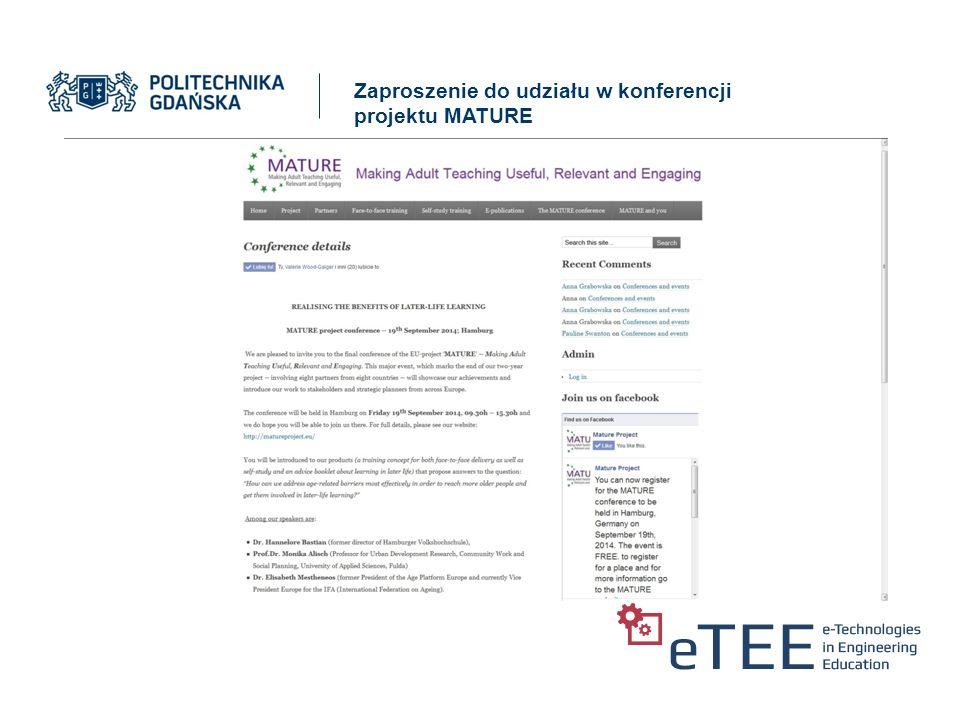 Zaproszenie do udziału w konferencji projektu MATURE