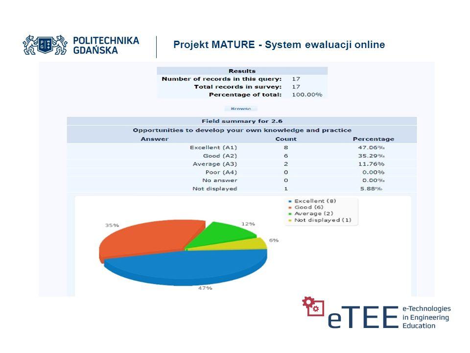 Projekt MATURE - System ewaluacji online