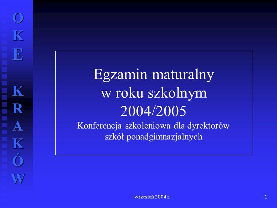 OKE KRAKÓW wrzesień 2004 r.1 Egzamin maturalny w roku szkolnym 2004/2005 Konferencja szkoleniowa dla dyrektorów szkół ponadgimnazjalnych