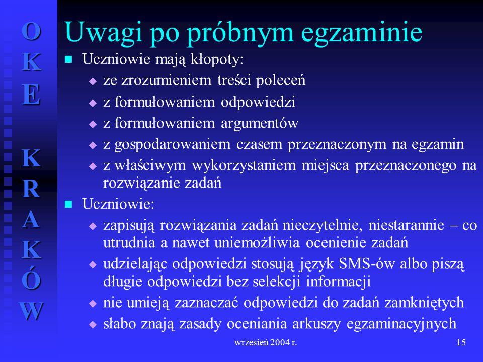 OKE KRAKÓW wrzesień 2004 r.15 Uczniowie mają kłopoty:   ze zrozumieniem treści poleceń   z formułowaniem odpowiedzi   z formułowaniem argumentów