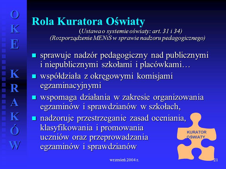 OKE KRAKÓW wrzesień 2004 r.21 Rola Kuratora Oświaty (Ustawa o systemie oświaty: art. 31 i 34) (Ustawa o systemie oświaty: art. 31 i 34) (Rozporządzeni