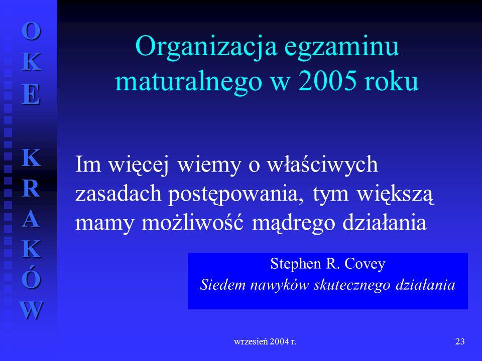 OKE KRAKÓW wrzesień 2004 r.23 Im więcej wiemy o właściwych zasadach postępowania, tym większą mamy możliwość mądrego działania Stephen R. Covey Siedem