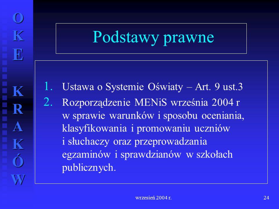 OKE KRAKÓW wrzesień 2004 r.24 Podstawy prawne 1. 1. Ustawa o Systemie Oświaty – Art. 9 ust.3 2. 2. Rozporządzenie MENiS września 2004 r w sprawie waru