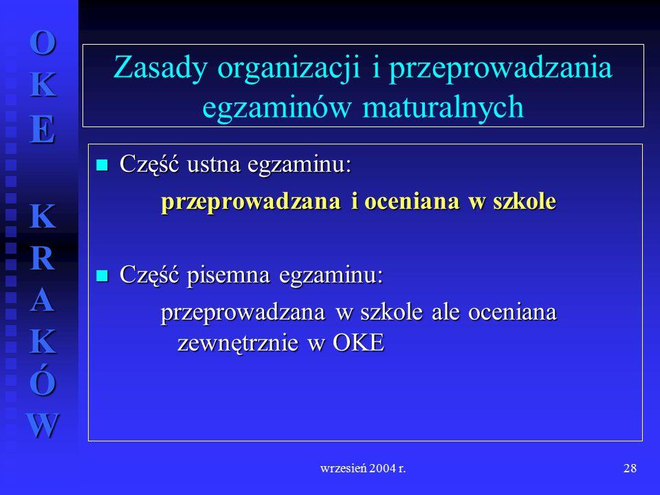 OKE KRAKÓW wrzesień 2004 r.28 Zasady organizacji i przeprowadzania egzaminów maturalnych Część ustna egzaminu: Część ustna egzaminu: przeprowadzana i