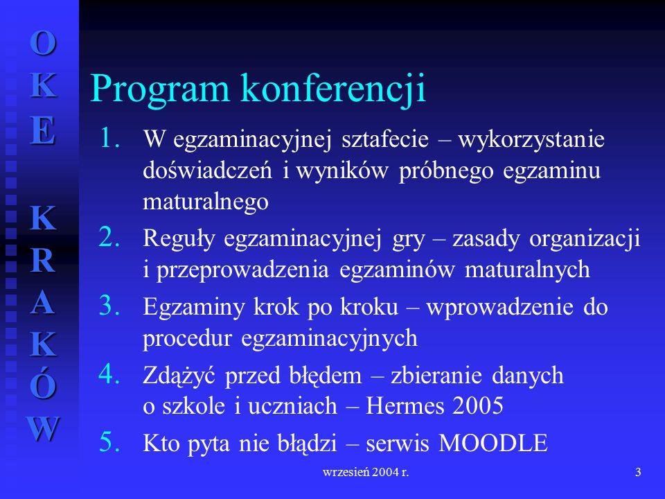 OKE KRAKÓW wrzesień 2004 r.3 1. 1. W egzaminacyjnej sztafecie – wykorzystanie doświadczeń i wyników próbnego egzaminu maturalnego 2. 2. Reguły egzamin