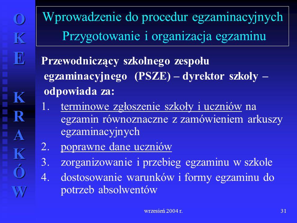 OKE KRAKÓW wrzesień 2004 r.31 Wprowadzenie do procedur egzaminacyjnych Przygotowanie i organizacja egzaminu Przewodniczący szkolnego zespołu egzaminac
