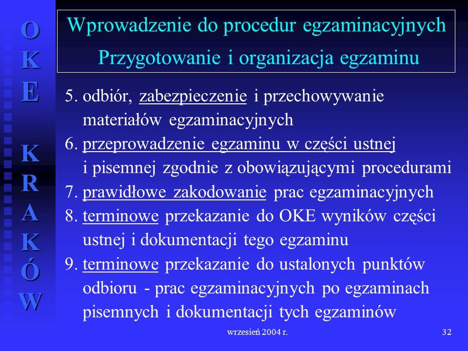 OKE KRAKÓW wrzesień 2004 r.32 Wprowadzenie do procedur egzaminacyjnych Przygotowanie i organizacja egzaminu 5. odbiór, zabezpieczenie i przechowywanie