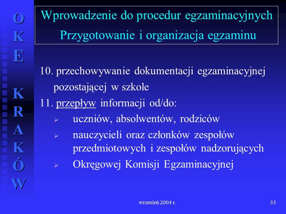 OKE KRAKÓW wrzesień 2004 r.33 Wprowadzenie do procedur egzaminacyjnych Przygotowanie i organizacja egzaminu 10. przechowywanie dokumentacji egzaminacy