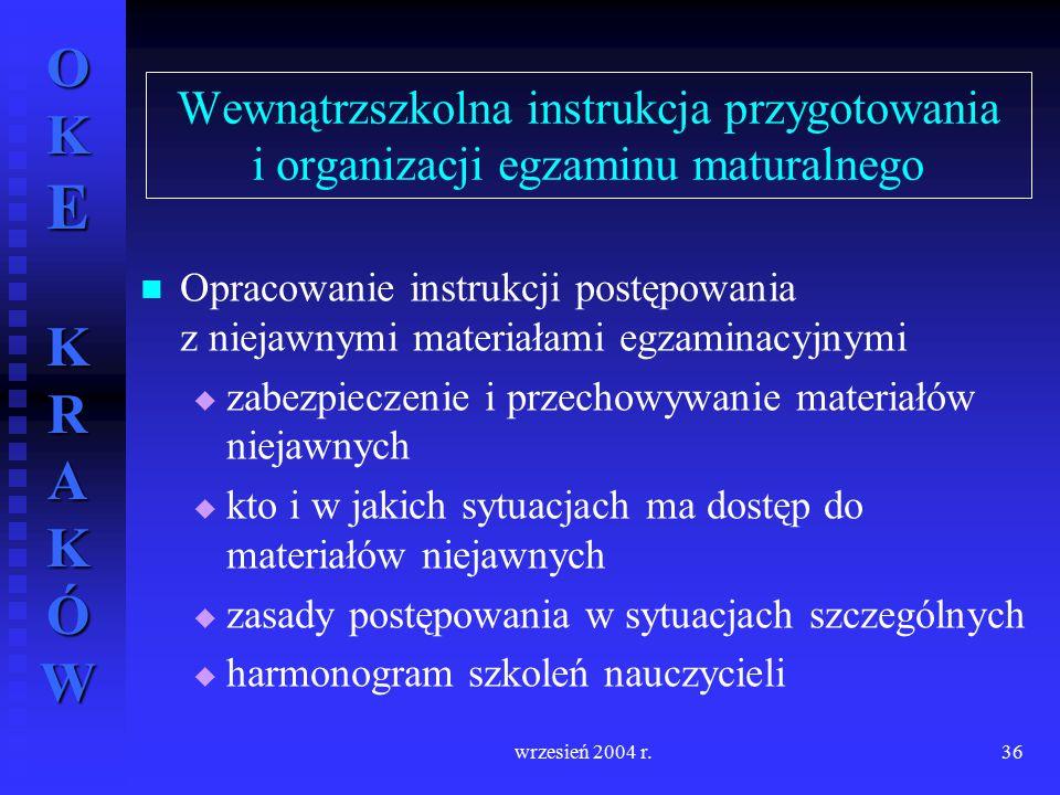 OKE KRAKÓW wrzesień 2004 r.36 Wewnątrzszkolna instrukcja przygotowania i organizacji egzaminu maturalnego Opracowanie instrukcji postępowania z niejaw