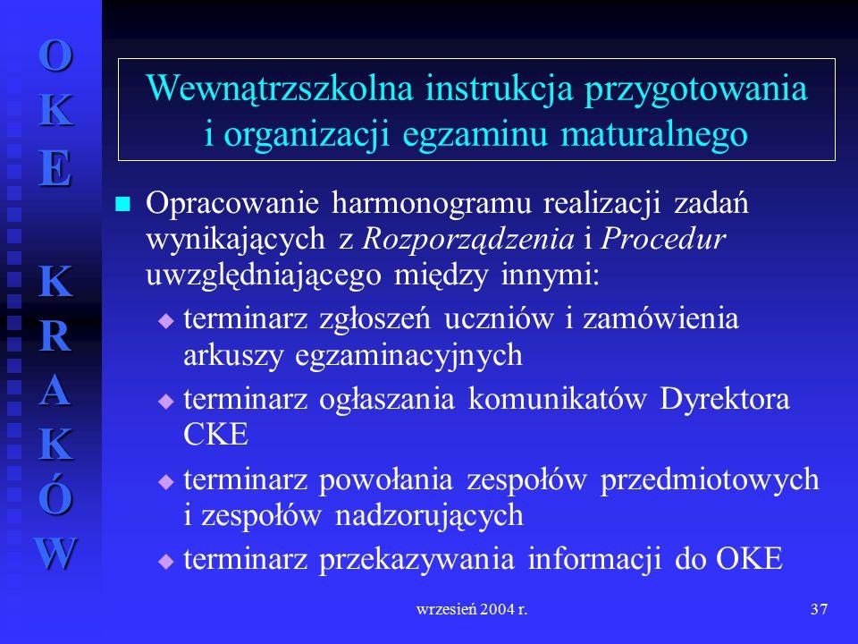 OKE KRAKÓW wrzesień 2004 r.37 Opracowanie harmonogramu realizacji zadań wynikających z Rozporządzenia i Procedur uwzględniającego między innymi:   t