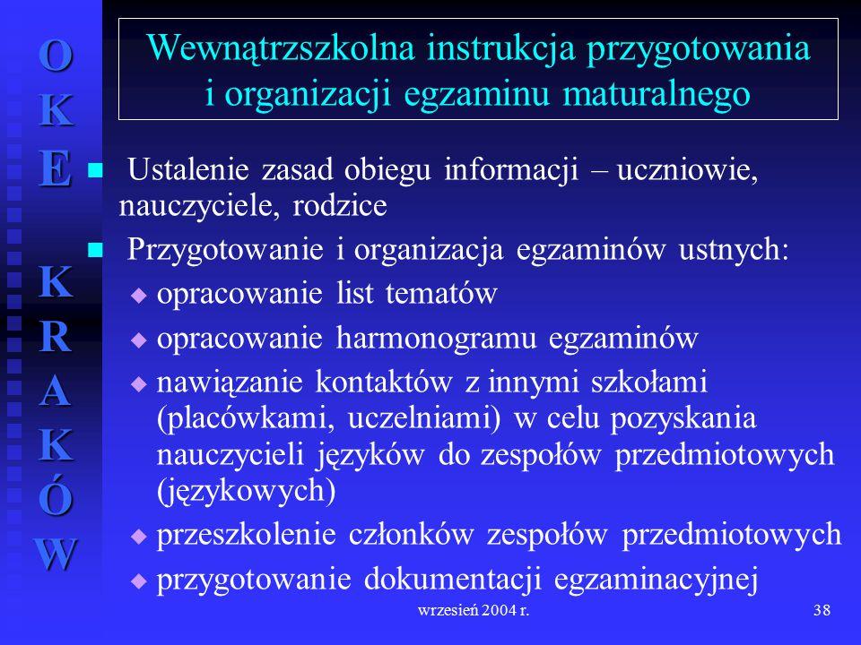 OKE KRAKÓW wrzesień 2004 r.38 Ustalenie zasad obiegu informacji – uczniowie, nauczyciele, rodzice Przygotowanie i organizacja egzaminów ustnych:   o