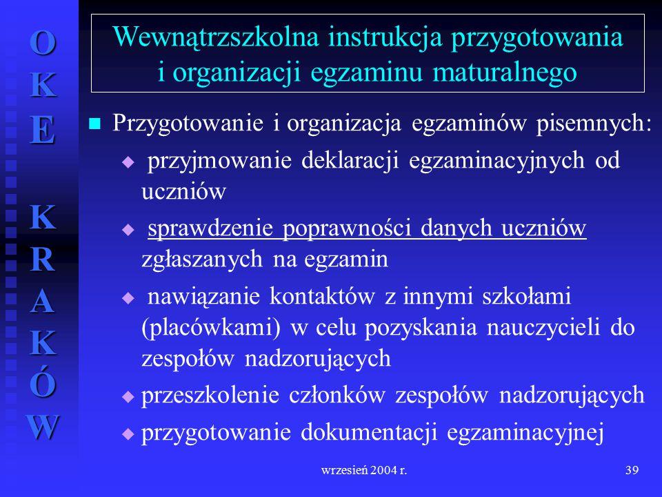 OKE KRAKÓW wrzesień 2004 r.39 Przygotowanie i organizacja egzaminów pisemnych:   przyjmowanie deklaracji egzaminacyjnych od uczniów   sprawdzenie