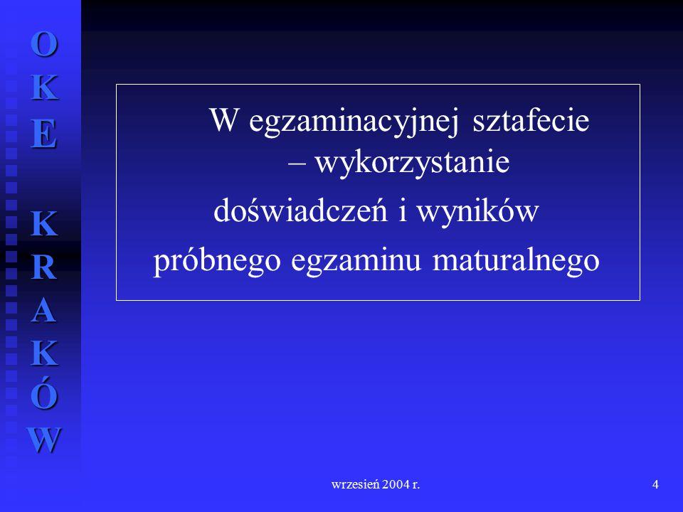 OKE KRAKÓW wrzesień 2004 r.4 W egzaminacyjnej sztafecie – wykorzystanie doświadczeń i wyników próbnego egzaminu maturalnego