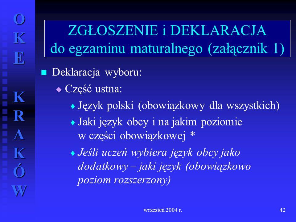 OKE KRAKÓW wrzesień 2004 r.42 Deklaracja wyboru:   Część ustna:   Język polski (obowiązkowy dla wszystkich)   Jaki język obcy i na jakim poziomi