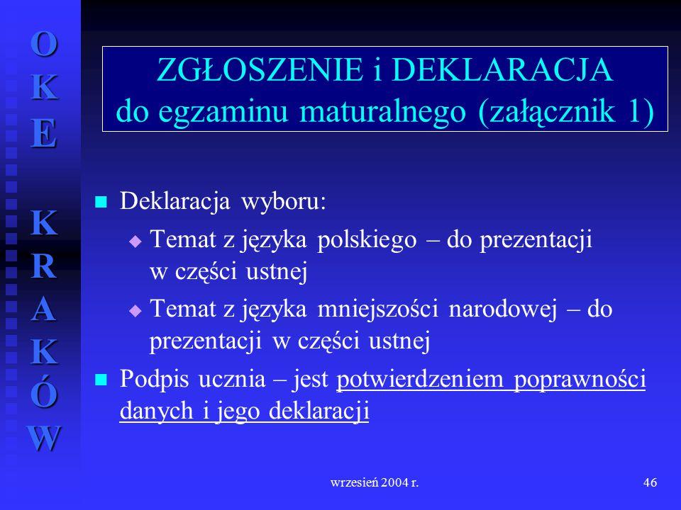 OKE KRAKÓW wrzesień 2004 r.46 Deklaracja wyboru:   Temat z języka polskiego – do prezentacji w części ustnej   Temat z języka mniejszości narodowe