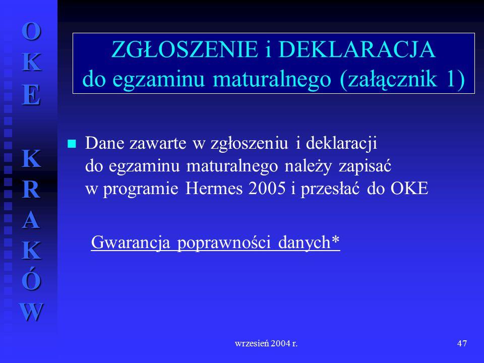 OKE KRAKÓW wrzesień 2004 r.47 Dane zawarte w zgłoszeniu i deklaracji do egzaminu maturalnego należy zapisać w programie Hermes 2005 i przesłać do OKE