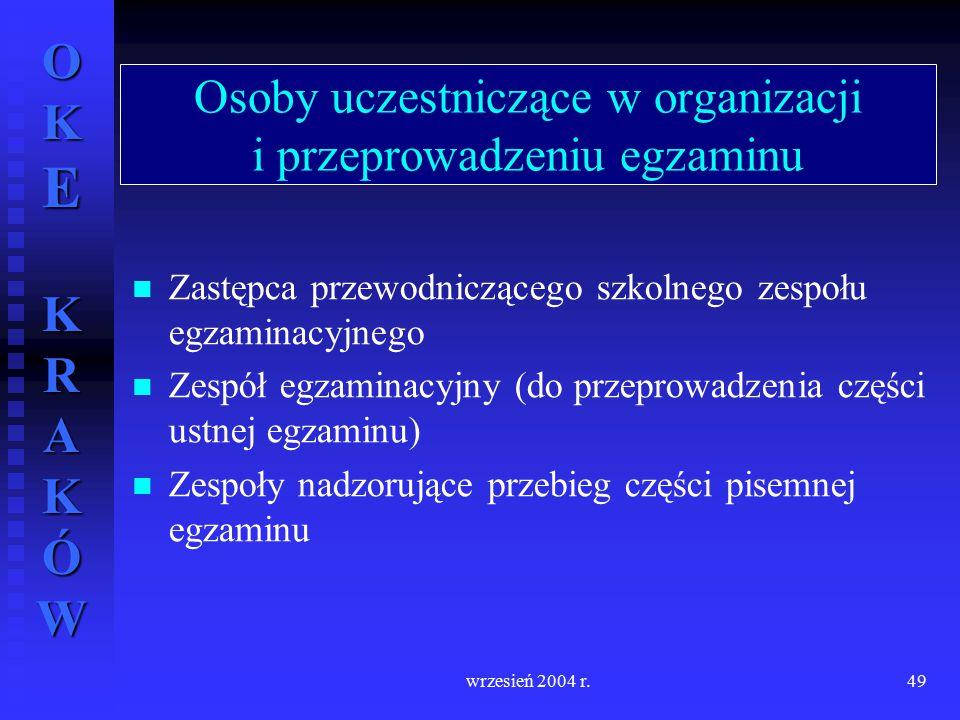 OKE KRAKÓW wrzesień 2004 r.49 Osoby uczestniczące w organizacji i przeprowadzeniu egzaminu Zastępca przewodniczącego szkolnego zespołu egzaminacyjnego