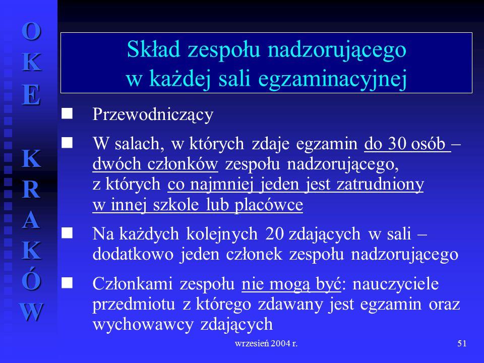OKE KRAKÓW wrzesień 2004 r.51 Przewodniczący W salach, w których zdaje egzamin do 30 osób – dwóch członków zespołu nadzorującego, z których co najmnie