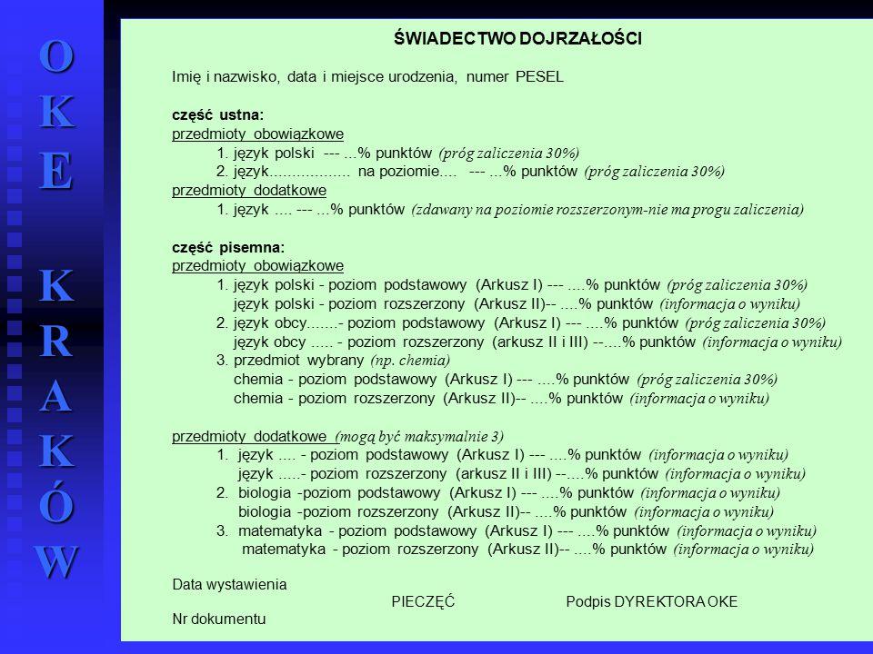 OKE KRAKÓW wrzesień 2004 r.55 ŚWIADECTWO DOJRZAŁOŚCI Imię i nazwisko, data i miejsce urodzenia, numer PESEL część ustna: przedmioty obowiązkowe 1. jęz