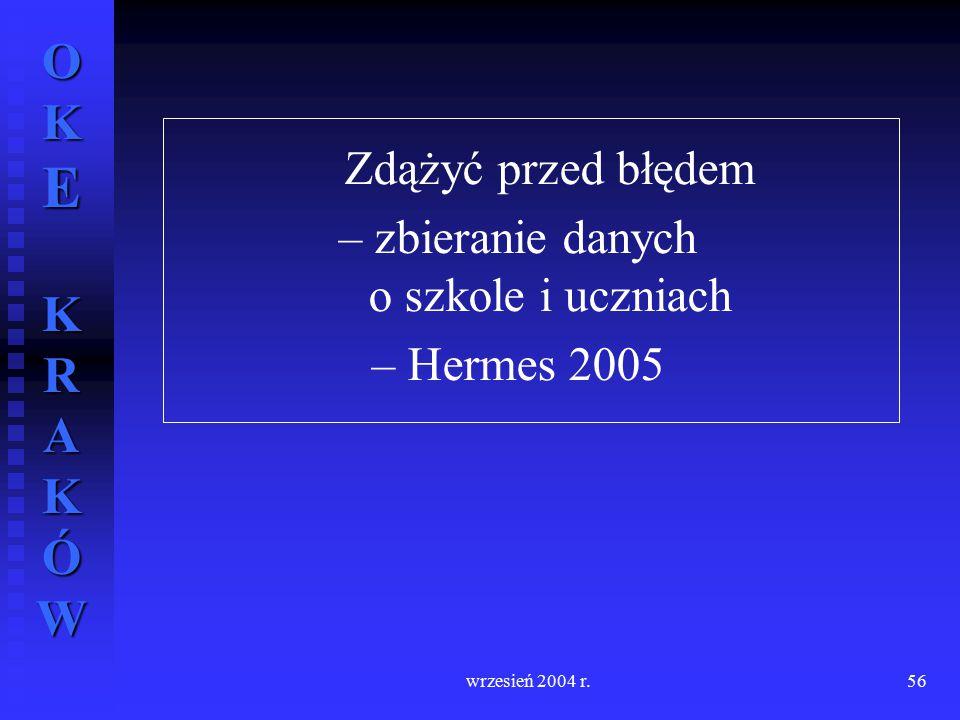 OKE KRAKÓW wrzesień 2004 r.56 Zdążyć przed błędem – zbieranie danych o szkole i uczniach – Hermes 2005