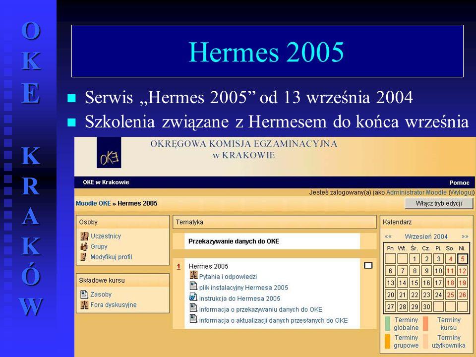 """OKE KRAKÓW wrzesień 2004 r.59 Hermes 2005 Serwis """"Hermes 2005"""" od 13 września 2004 Szkolenia związane z Hermesem do końca września"""
