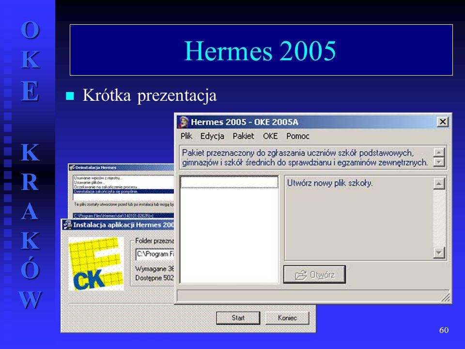 OKE KRAKÓW wrzesień 2004 r.60 Hermes 2005 Krótka prezentacja