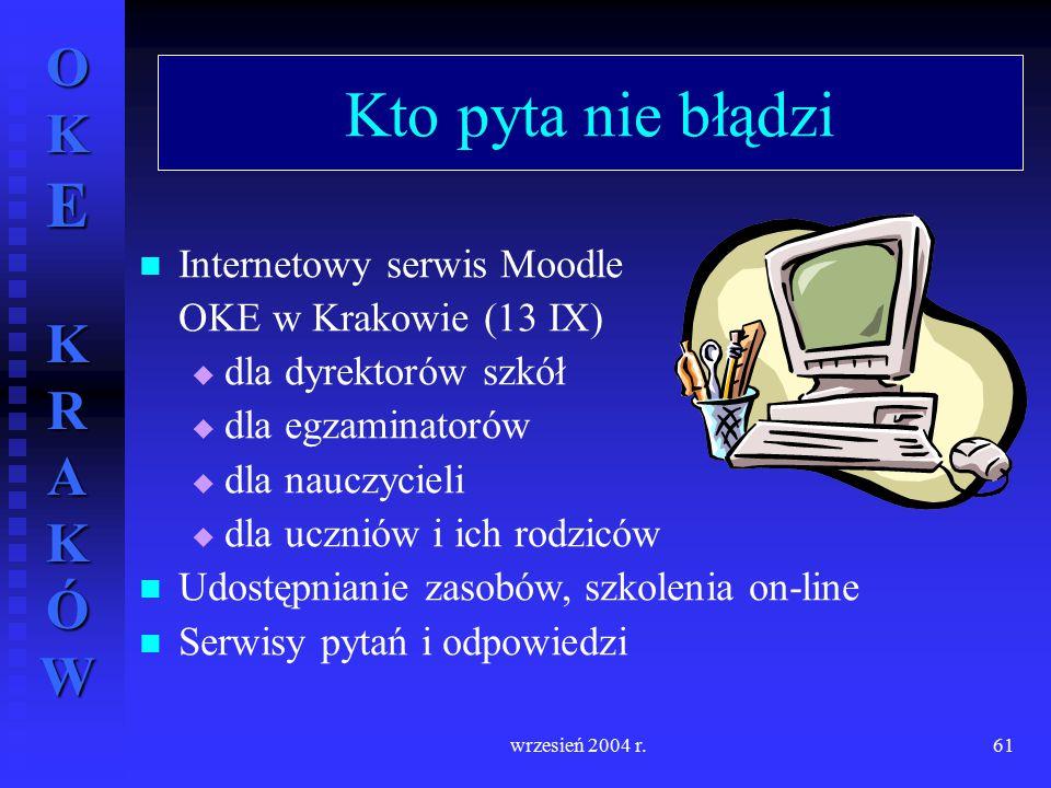 OKE KRAKÓW wrzesień 2004 r.61 Kto pyta nie błądzi Internetowy serwis Moodle OKE w Krakowie (13 IX)  dla dyrektorów szkół  dla egzaminatorów  dla na