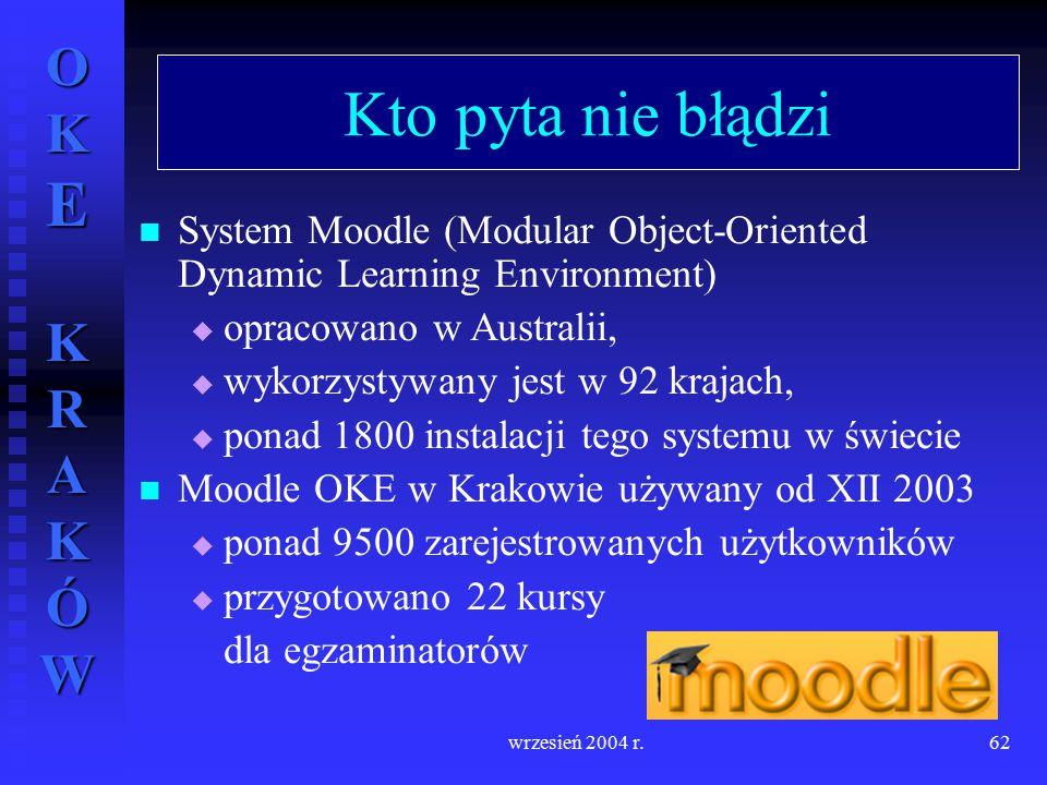 OKE KRAKÓW wrzesień 2004 r.62 Kto pyta nie błądzi System Moodle (Modular Object-Oriented Dynamic Learning Environment)  opracowano w Australii,  wyk