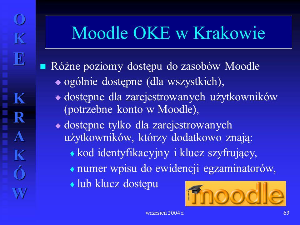 OKE KRAKÓW wrzesień 2004 r.63 Moodle OKE w Krakowie Różne poziomy dostępu do zasobów Moodle  ogólnie dostępne (dla wszystkich),  dostępne dla zareje