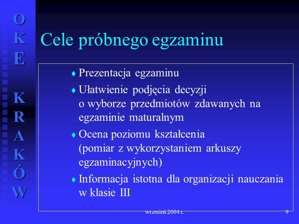 OKE KRAKÓW wrzesień 2004 r.9   Prezentacja egzaminu   Ułatwienie podjęcia decyzji o wyborze przedmiotów zdawanych na egzaminie maturalnym   Ocen