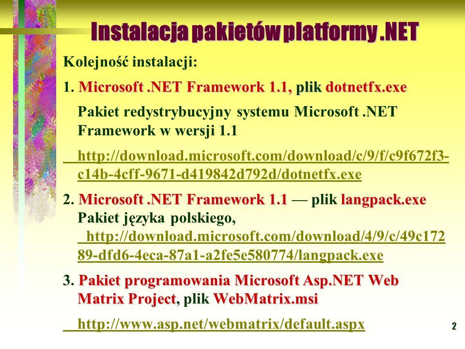 2 Kolejność instalacji: Microsoft.NET Framework 1.1, plik dotnetfx.exe 1. Microsoft.NET Framework 1.1, plik dotnetfx.exe Pakiet redystrybucyjny system