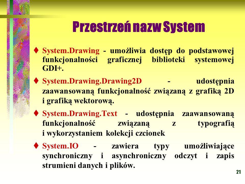 21 Przestrzeń nazw System  System.Drawing - umożliwia dostęp do podstawowej funkcjonalności graficznej biblioteki systemowej GDI+.  System.Drawing.D
