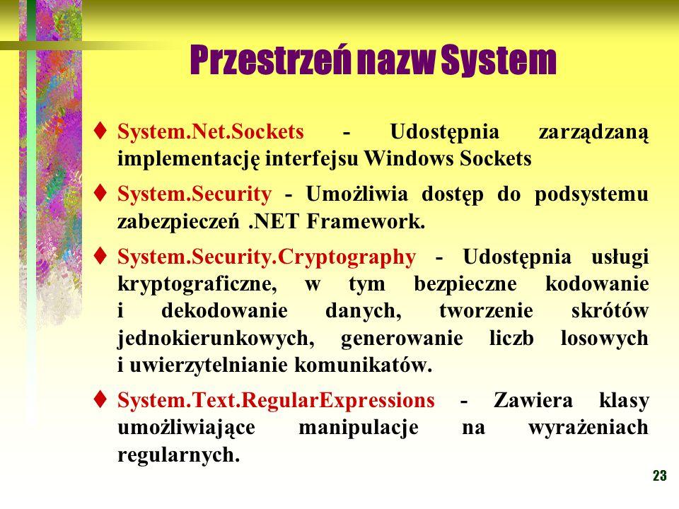 23 Przestrzeń nazw System  System.Net.Sockets - Udostępnia zarządzaną implementację interfejsu Windows Sockets  System.Security - Umożliwia dostęp d