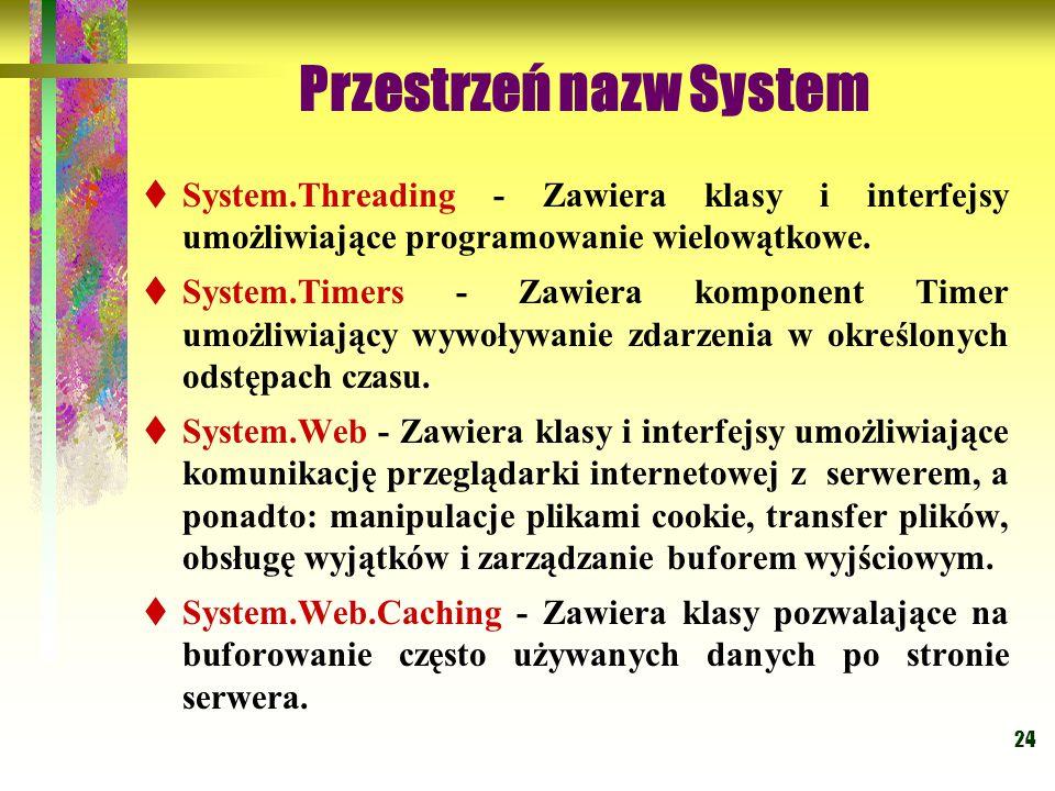 24 Przestrzeń nazw System  System.Threading - Zawiera klasy i interfejsy umożliwiające programowanie wielowątkowe.  System.Timers - Zawiera komponen